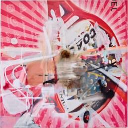 Albert Oehlen, Ohne Titel, 2016, oil, lacquer, paper on canvas, 250x250 cm Private Collection © Albert Oehlen © FMGB Guggenheim Bilbao Museoa, Bilbao, 2018 Ph: Erika Ede