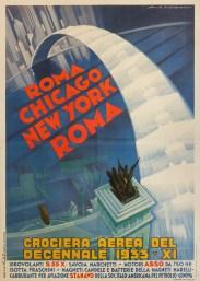 Luigi Martinati, Crociera Aerea del Decennale Roma Chicago New York Roma, 1933, stampa litografica a colori su carta cm 280x200 © Fondazione Massimo e Sonia Cirulli
