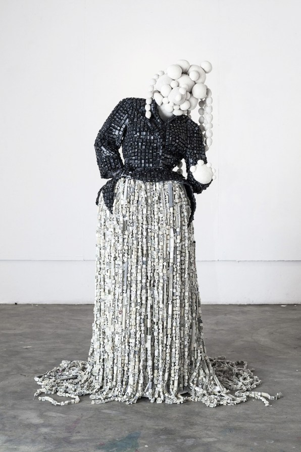 Maurice Mbikayi, Princesse Mathilde Kinoise, 2018, computer keys, fiberglass and resin, mutton cloth, knit crochet thread, net, wire and found objets, 185x55x67 cm Courtesy Officine dell'Immagine, Milano