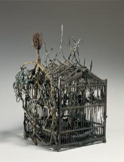 Alik Cavaliere, Gabbia con cardo, 1983, bronzo, cm 615x48x36