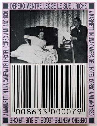Franco Vaccari, Depero mentre legge le sue liriche a Marinetti in una camera dell'Hotel Corso a Milano 1930, 1989-95, riporto fotografico su tela, 160x120 cm, Foto Fabio Fantini