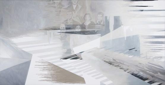 Anna Caruso, Non ero diretto qui eppure sono qui, acrylic on canvas, 80x150 cm, 2018