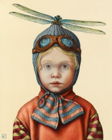 Claudia Giraudo, Departures / Aviator Dragonfly, 2018, olio su tela di lino, 50 x 40 cm
