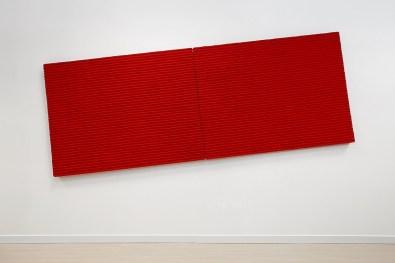 Pino Pinelli, Pittura R., 2003, tecnica mista, 2 elementi, 114 x 300 cm