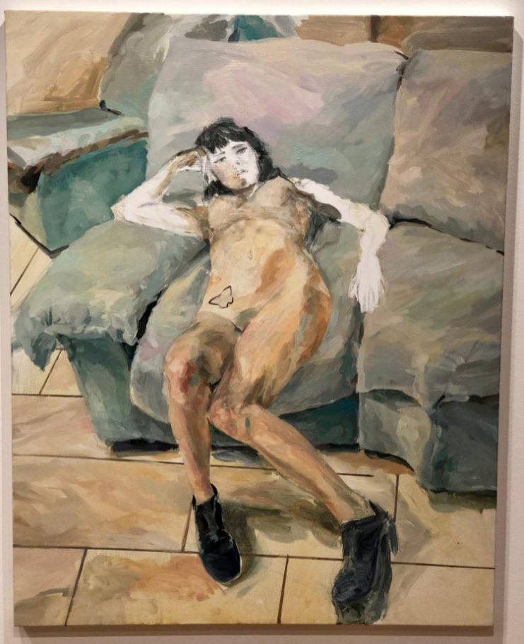Andrea Fontanari, Nuda, 2016, olio e tecnica mista su tela, 80x100 cm