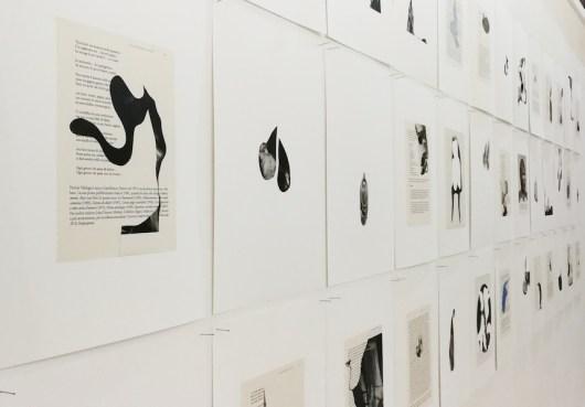 Armida Gandini, Pagine bagnate, 2018, installazione di carte formato A3, collage su carta Fabriano, cm 42x29.7, tecnica mista su pagina stampata, cm 24x17 (veduta dell'installazione)