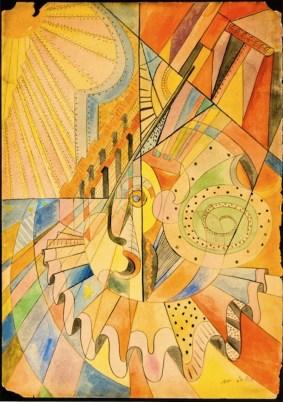 Filippo De Pisis, Pagliaccio, 1916, tempera e china su carta, 33.5x24 cm, autentica a cura dell'Archivio De Pisis (Galleria Matteotti, Torino)