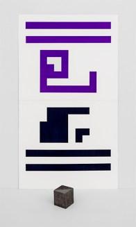 Fausta Squatriti, Equivalenza pieno/vuoto = un cubo, 1983, acquarello, grafite, collage su carta e cartone + granito, cm 142.5x81.5 + volume Courtesy Archivio Fausta Squatriti, Milano e Artesilva, Seregno