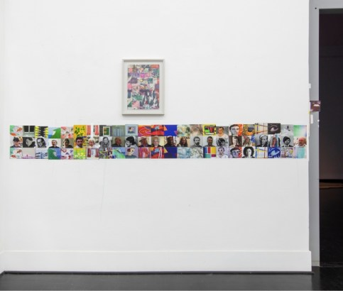 "Franklin Evans, ""selfportraitasartistasart"" (detail), 2018, pigment prints on paper with thread and tape, 33 x 853 cm, installation view of the exhibition ""selfportraitas"", 2018, FL Gallery, 23rd November 2018 - 17th January 2019 Courtesy the artist and FL Gallery Photo-credits: Antonio Maniscalco"
