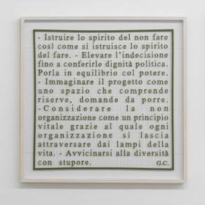 Sabrina Mezzaqui, Manifesto, 2013, lettere in cellulosa, filo, 80x80 cm, courtesy Galleria Massimo Minini, Brescia
