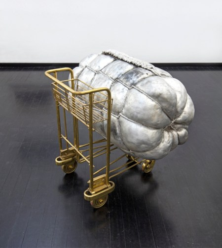 "Mikhael Subotzky and Subodh Gupta, Dubai to Mumbai, 2006, fusion of steel and brass, installation composed by two pieces, 93x100x85 cm, installation view of the exhibition ""Mind Travels"", 2018, Studio la Città as guest of SPAZIO22, 23rd November 2018 - 17th January 2019 Courtesy Studio la Città, Verona Photo-credits: Antonio Maniscalco"