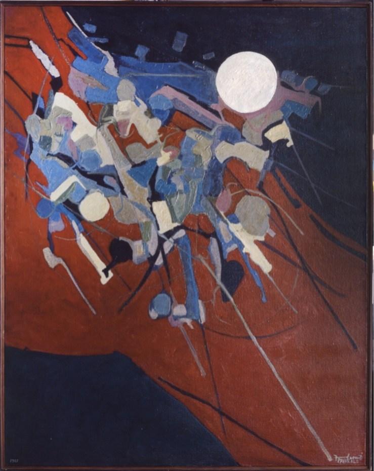 Francesco Casorati Pavarolo, Battaglia, 1961, olio su tela, 170.5x135 cm, GAM – Galleria Civica d'Arte Moderna e Contemporanea, Torino Dono di Luigi Bertasso, Torino, 1987
