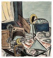 Max Beckmann, L'assassinio (Der Mord), 1933, acquerello e china su disegno preliminare in gessetto nero su carta, 50x45.4 cm, Collezione privata, Frankfurt am Main © 2018, ProLitteris, Zurich