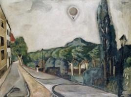 Max Beckmann, Paesaggio con mongolfiera (Landschaft mit Luftballon), 1917, olio su tela, 75.5x100.5 cm, Museum Ludwig, Köln/Ankauf 1954, Inv.-Nr. ML 76/2940, Zugang 1976 © 2018, ProLitteris, Zurich