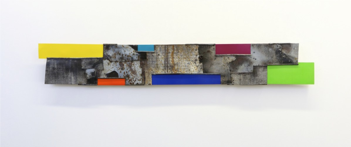 Andrea Cereda, No Signal - Sequenze #32, 2018, lamiera di ferro, 191x29 cm Courtesy l'artista e Castel Negrino Arte, Aicurzio (MB)