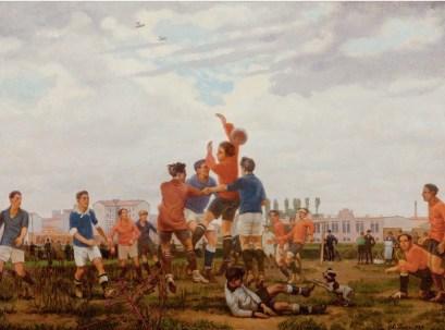 Leonardo Dudreville, Partita di calcio (il gioco), 1924, olio su tela, 50x70.5 cm, Museo del Novecento, Milano