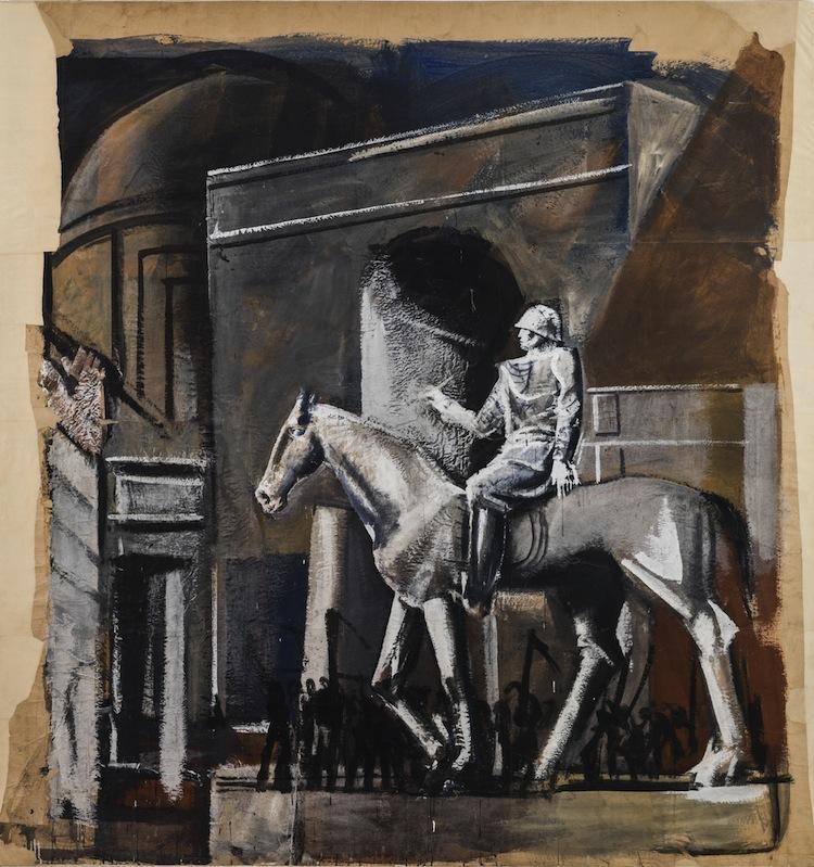 Mario Sironi, Condottiero a cavallo, 1934-35, tecnica mista su carta da spolvero, 288x275x4 cm, Archivio Mario Sironi di Romana Sironi