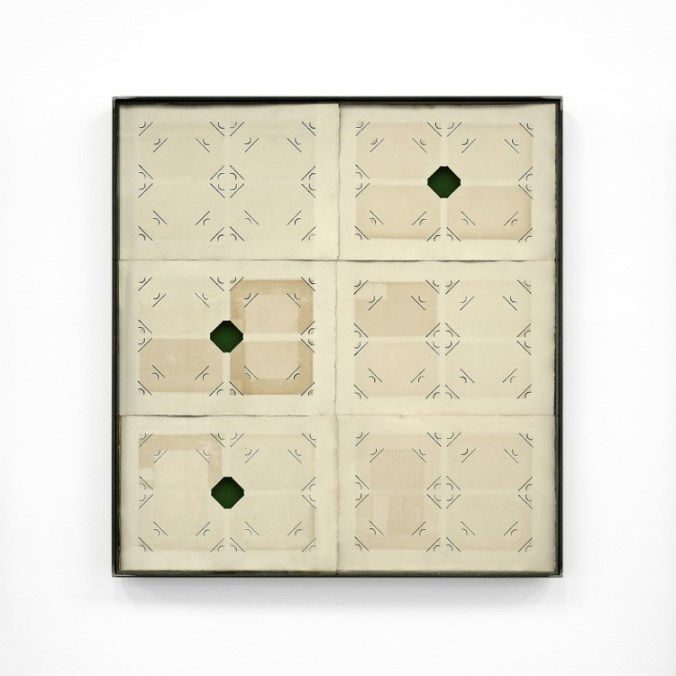 Jacopo Mazzonelli, [S]ancte, 2019, pagine di album fotografici, velluto, ferro, vetro, 78.3x74.3 cm Courtesy l'artista e Galleria Giovanni Bonelli