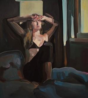Evita Andújar, Stolen Selfie 30 o Il mattino bruscia, 2019, acrilico su tela, cm 90x80