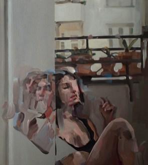 Evita Andújar, Stolen selfie 32 o Non ti farò del male, 2019, acrilico su tela, 90x80 cm