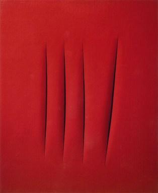 Lucio Fontana, 4 tagli rosso, cm 73 x 60