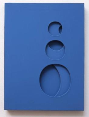 SCHEGGI, Intersuperficie Curva dall'Azzurro, 1966, cm 80x60x5, acrilici su tele sovrapposte.jpg