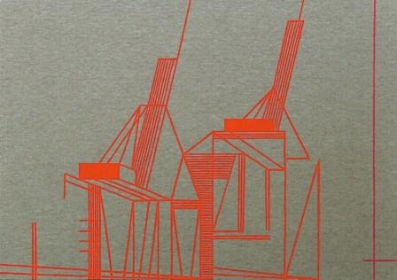 Ester Grossi, Red Hook Lines 5, 2017, acrilico su tela, 35x50 cm Courtesy Spazio Testoni, Bologna Foto Giulia Mazza