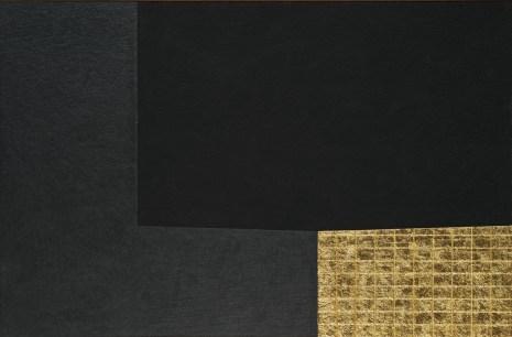 Alberto Burri: Nero e Oro, 1993, Acrilico, oro in foglia, cellotex su tela, cm 106x161,5 (108x163,5x5). Fondazione Palazzo Albizzini Collezione Burri