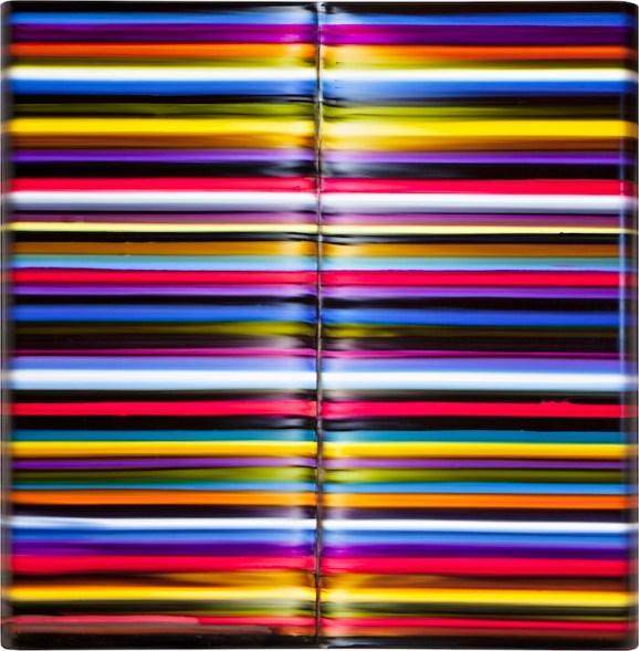 Giovanni Lombardini, Rime, 2019, tecnica mista su formica, 60x60 cm, Collezione privata