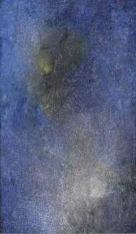 Mario Deluigi, Grattage, Motivo sui vuoti, 1954, tempera su tela, 125x65 cm, Collezione privata