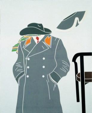 Emilio Tadini, Vita di Voltaire. Un uomo preromantico, 1967, acrilici su tela 100x81 cm, Collezione privata Courtesy Fondazione Marconi, Milano
