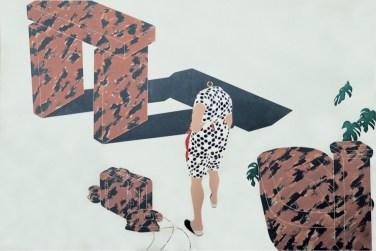 Emilio Tadini, Viaggio in Italia, 1971, acrilici su tela, 200x300 cm, Collezione privata Courtesy Fondazione Marconi, Milano