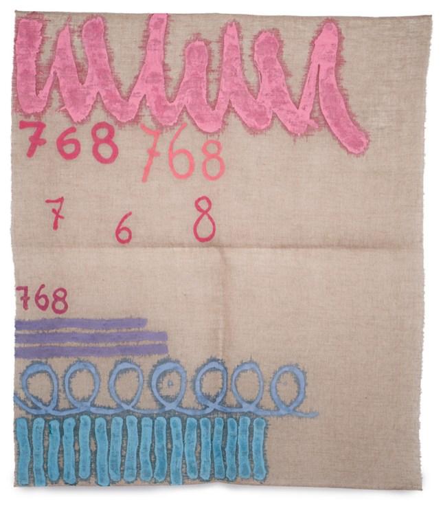 Giorgio Griffa- Tre linee con arabesco n.768- 1993- 99x86cm- acrylic on juta