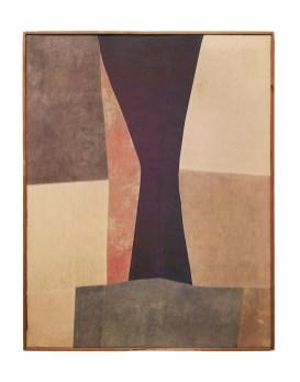 Nuvolo, Clessidra, 1958, pittura a olio su tessuti cuciti e dipinti montati su telaio, 119x93 cm