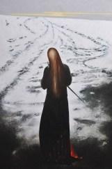Omar Galliani, Cavaliere dell'ellissi, 1986, olio su tela, cm 270x178