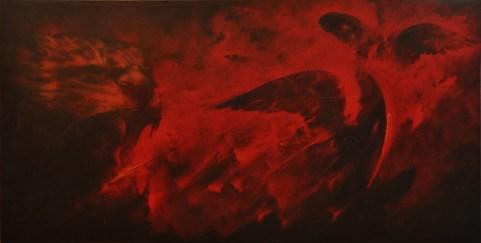 Omar Galliani, Le tue macchie nei miei occhi, 1981-82, olio su tela, cm. 150x300, courtesy Studio Vigato