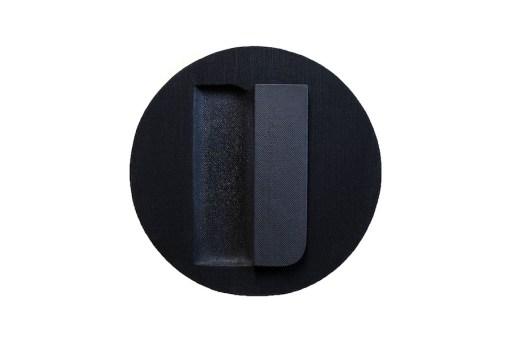 Jaime Poblete, Untitled, 2019 (BLACK TONDO) tecnica mista su tessuto tappezzeria, diametro 43.5 cm Courtesy Castel Negrino arte, Aicurzio (MB)
