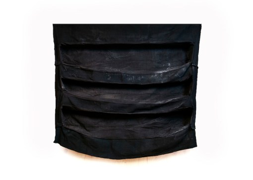 Jaime Poblete, Untitled, 2019 (big folded black), tecnica mista su tessuto tappezzeria, 120x135 cm Courtesy Castel Negrino arte, Aicurzio (MB)