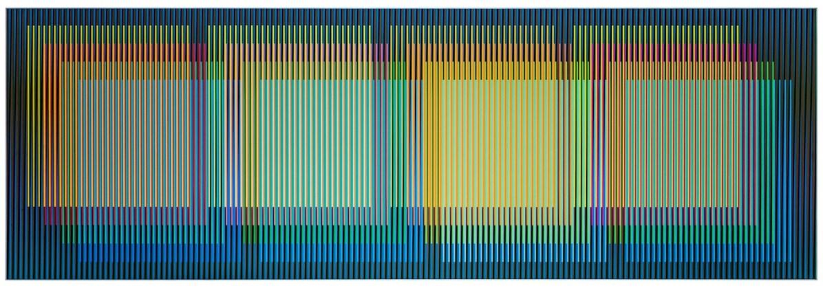 Carlos Cruz-Diez, Color Aditivo Yuruani, 2017, cromografia su alluminio, 80x240 cm Courtesy Articruz e Dep Art Gallery, Milano