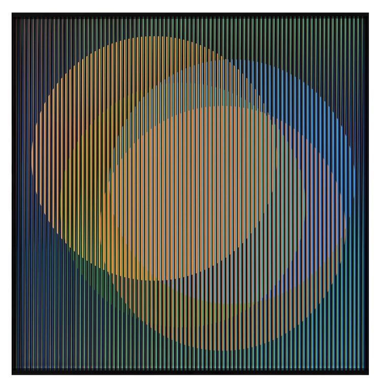 Carlos Cruz-Diez, Cromointerferencia Espacial 36, 1964-2017, cromografia su alluminio, 100x100 cm Courtesy Articruz e Dep Art Gallery, Milano