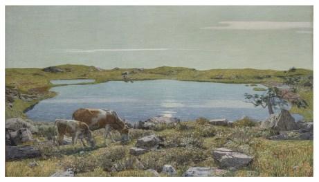 Carlo Fornara, Fontanalba, non datato (1904-1906), olio su tela, 96x166 cm (siglato in basso a sinistra), Collezione privata