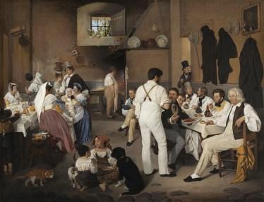 Ditlev Conrad Blunck, Artisti danesi all'osteria La Gensola a Trastevere, 1837, olio su tela, 74.5x99.4 cm, Copenaghen, Thorvaldsens Museum,www.thorvaldsensmuseum.dk