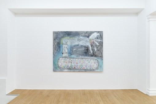 Roberto Alfano, Carrotrattore, 2019, tecnica mista su tela, passepartout cotone, 172x225 cm Courtesy The Address