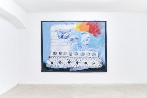 Roberto Alfano, Carrotrattore 1, 2019, tecnica mista su tela, 164x200x3.5 cm Courtesy The Address