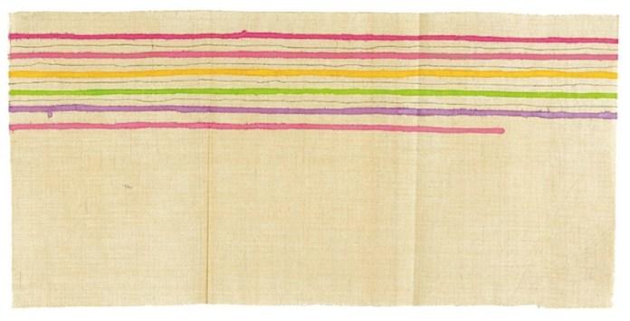 Giorgio Griffa, Linee orizzontali, 1975, acrilici su tela, 39x80 cm Courtesy Galleria Il Milione, Milano