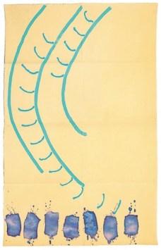 Giorgio Griffa, Tre segni tre colori, 1991, acrilici su tela, 178x112 cm Courtesy Galleria Il Milione, Milano