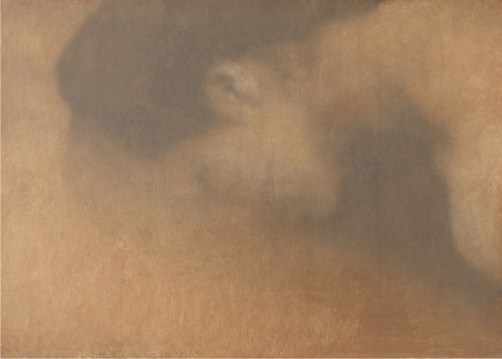 Michele Parisi, Al buio divento parole, 2019, gelatina fotosensibile, grafite e olio su tela preparata, 53x73 cm Courtesy the artist Foto Nicola Eccher