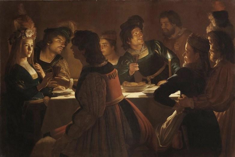 Gerrit van Honthorst detto Gherardo delle Notti, Cena con sponsali, 1613-1614, olio su tela, 138x203 cm, Gallerie degli Uffizi, Firenze