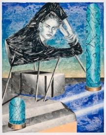 Marion Fink, She lingered within the laboratory of her own conciousness, 2019, monotipo, olio e pastello a cera su carta, 153x120 cm