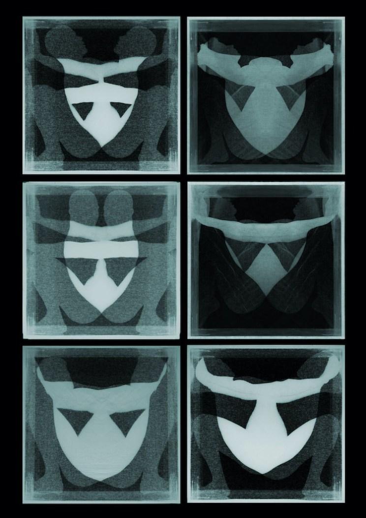 Manuel Scrima, Disembodiedness 090 (Maschere), stampa su lastra di vetro e lastra di plexiglass bianco opalino, 6 pezzi, 50x50 cm ciascuno Courtesy l'artista e Fabbrica Eos, Milano